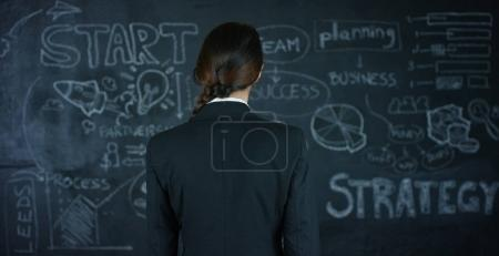 Beautiful business girl, a marketing teacher, draws a graph of strategy on a black board, on a black background. Concept: career growth, growth chart, successful girl, marketing, ideas, finances.
