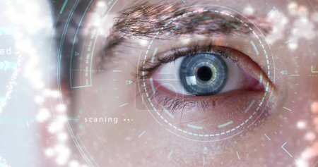blue eye macro implemented with virtual reality. futuristic vision of reality and concept of cyber technology. Security systems applied to technology. Concept of web control and remote support.