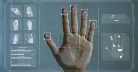 Handprint leaning on control glass for biometric scan.