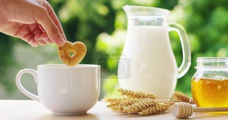 Photo pour La main d'un garçon pour le petit déjeuner lors d'une journée ensoleillée plonge un cookie en forme de cœur dans une tasse de jardin de lait. concept de lait et biscuits liés à une alimentation saine, petit déjeuner heureux, amour du lait et de la vie  . - image libre de droit