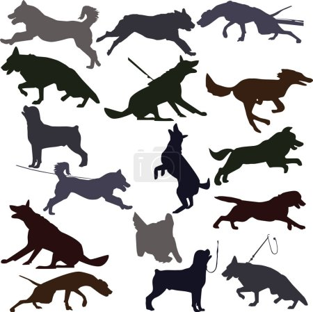 Dog silhouettes illustration.