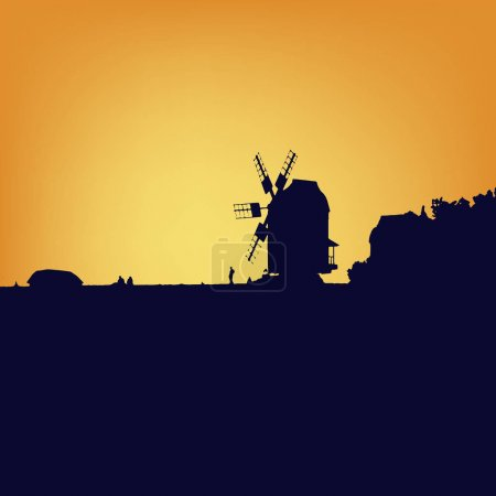 Windmill silhouette on sunset.