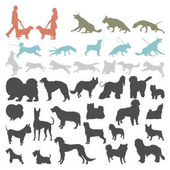 Dog silhouettes isolated on white background