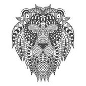 Lion head with ethnic patterns Vector illustration