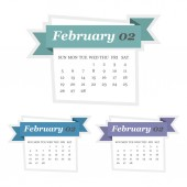 Set of February 2017 calendar with ribbon in a flat design