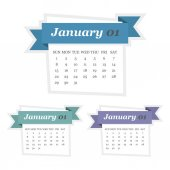 Set of January 2017 calendar with ribbon in a flat design