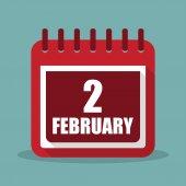 Calendar with 2 february in a flat design Vector illustration