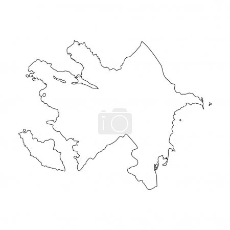 Azerbaijan linear map on a white background. Vector illustration