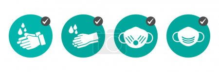 Preventive measures icons how not to get a virus. Wash hands and wear medical masks