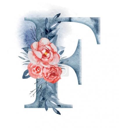 Alphabet aquarelle florale. Monogramme lettre initiale F design avec fleur pivoine dessinée à la main