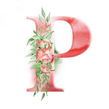 Alfabeto de acuarela floral. Monograma inicial letra P diseño con flor de peonía dibujada a mano