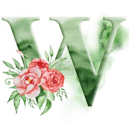 Florales Aquarell-Alphabet. Monogramm Anfangsbuchstabe w Design mit handgezeichneter Pfingstrose Blume