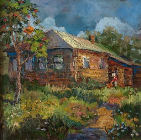 Photo pour Peinture d'une maison dans le village. Villageois avec chien entouré de fleurs sauvages - image libre de droit
