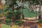 Landscape painting showing road through forest on beautiful summer day. Art concept