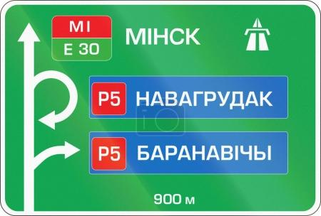 Belarusian direction road sign on a highway