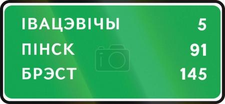 Belarusian information road sign - Distances to Ivacevicy, Pinsk and Brest