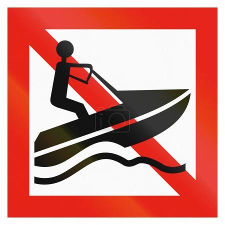 Maritime fairway sign of Finland - Personal water crafts are forbidden