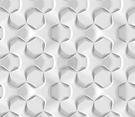 White abstract hexagonal geometric pattern. Origami paper style. 3D rendering seamless texture.