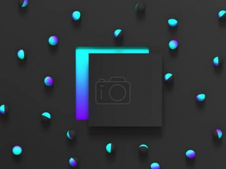Abstract shaded 3d geometric background. Black modern glow design for poster, cover, banner, card.