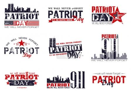 Patriot day lettering set