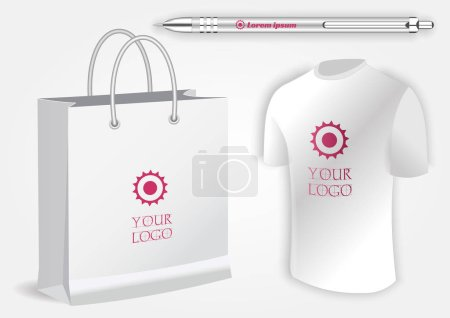 Illustration for Blank realistic white shirt, white pen and shopping bag isolated on white vector. Display Mock up for corporate identity and promotion objects - Royalty Free Image