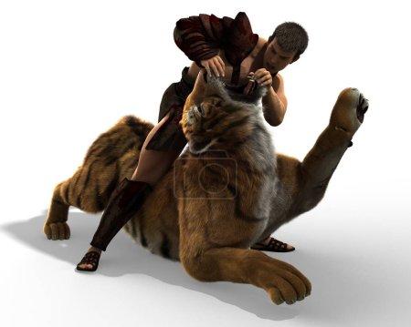 Photo pour Gladiateur combattant avec une illustration 3d tigre isolé sur fond blanc . - image libre de droit