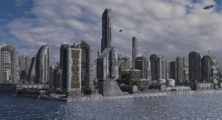 Photo for 3D illustration future city for futuristic or fantasy backgrounds. - Royalty Free Image