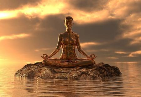 Photo pour Illustration 3D statue fille dorée faisant du yoga en mer - image libre de droit