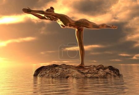 Photo pour 3D fille de statue dorée illustration, faire du yoga en mer - image libre de droit
