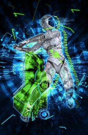 Photo pour Illustration 3D cyborg femelle sur fond techno - image libre de droit