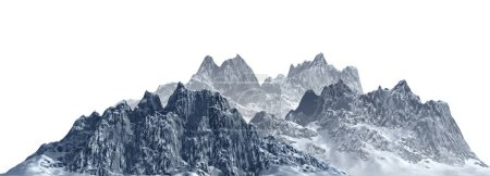 Photo for 3D illustration snow-capped mountains Isolate on white background - Royalty Free Image