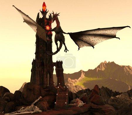 Fantasie Drache und dunkler Turm 3D-Illustration