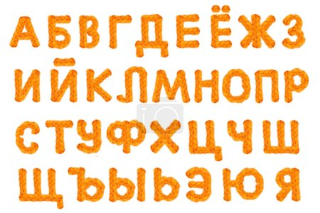 Photo for Russian alphabet crocheted letters on white background with clipping path . - Royalty Free Image