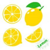 Icon lemon Set fresh lemon fruits and slice Isolated on white background Vector