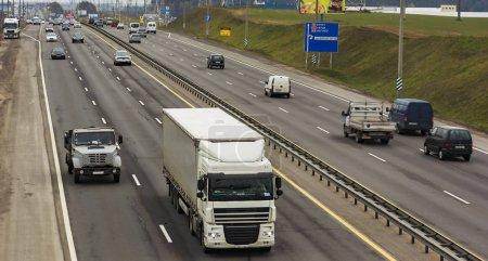 Belarus, Minsk - 11/09/2016: The movement of motor transport on the Minsk ring road.