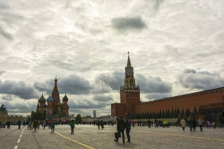 Red square, the Kremlin wall, the Mausoleum and St. Basil's Cath