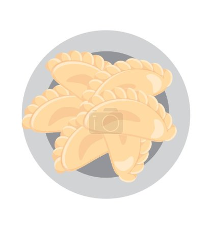 Illustration pour Des boulettes sur une assiette. De la nourriture ukrainienne. Cuisine européenne. Illustration vectorielle - image libre de droit