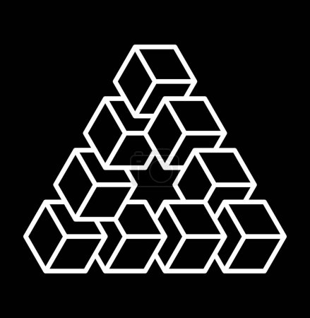 Illustration for Penrose triangle. Vector logo template. Impossible triangle shape. Sacred geometry sign made in stippling technique. Isolated symbol. Pointillism. Penrose tribar. - Royalty Free Image
