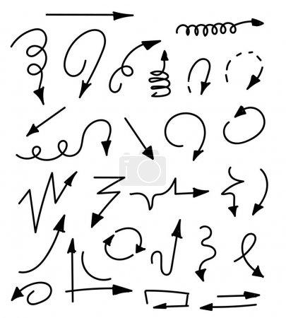 Illustration pour Flèches dessinées à la main ensemble isolé sur blanc. Jeu de flèches croquis. Illustration vectorielle pour votre design d'entreprise et d'éducation - image libre de droit