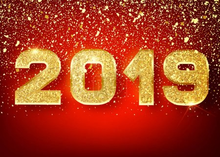 2019 Happy new year. Gold Numbers Design of greeting card of Falling Shiny confetti. Gold Shining Pattern. Happy New Year Banner with 2019 Numbers on red Bright Background. Vector 10 EPS