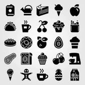 Food And Drinks vector icon set groceries steak meat pie and orange