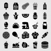 Food And Drinks vector icon set corn taco steak and soda