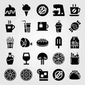Food And Drinks vector icon set lobster kiwi coffee and soft drink