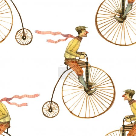 Photo for Watercolor illustration of man on bicycle seamless pattern isolated on white background - Royalty Free Image