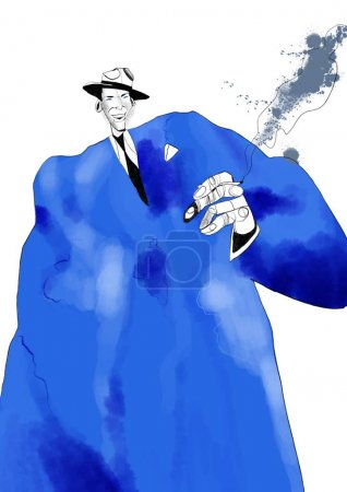 Photo pour Illustration aquarelle du célèbre musicien. Illustration Frank Sinatra isolée sur fond blanc - image libre de droit