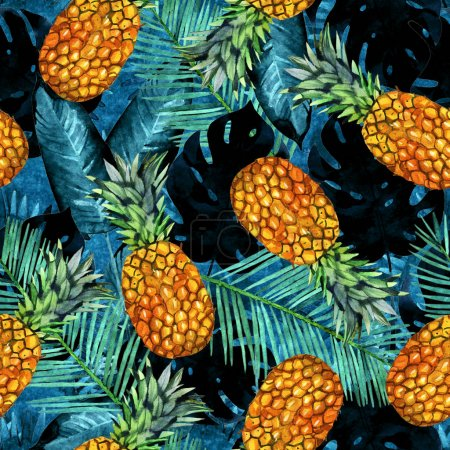 watercolor pineapple and palm leaves seamless pattern illustration. Tropical background