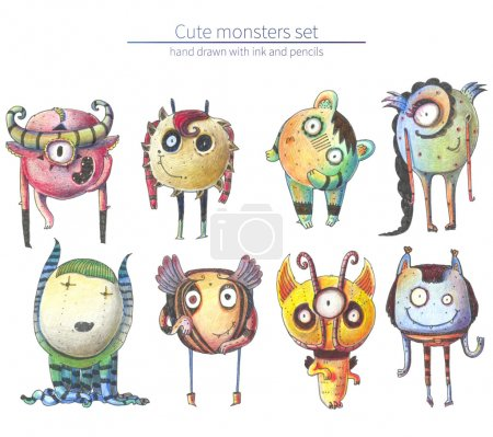 Set of cute and lovely hand drawn monsters, drawn with pencils and ink on white background. Raster large illustration with collection of different fictional characters with strange fantasy anatomy.