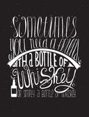 Sometimes you need a friend with a bottle of whiskey Or simply a bottle of whiskey Creative lettering dedicated to love with alcohol Vertical hand drawn vector illustration on black background