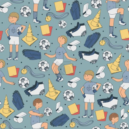 Seamless vector illustration with soccer players and football accessories in random position on blue background. Hand drawn illustration with ball, red cards, boots, cones and other equipment.