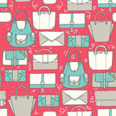 Seamless vector illustration with cute teal and grey handbags and clutches in fashion stylish pattern Hand drawn background drawn with imperfections on pink background
